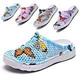 Offer for LIGHTEN Garden Shoes Womens Mens Quick-Dry Clogs Comfort Walking Sandals Slippers Non-Slip Beach Shower Water Shoes Butterfly Blue 36