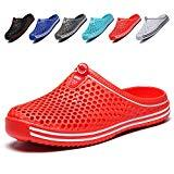 Offer for Garden Shoes Womens Mens Quick-Dry Clogs Comfort Walking Sandals Slippers Non-Slip Beach Shower Water Shoes Red 36