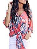 Offer for Bbalizko Womens 3/4 Sleeve Chiffon Blouses Floral Printed Deep V Neck Tie Front Tops Orange