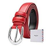 Offer for BISON DENIM Women's Stylish Thin Genuine Leather Skinny Waist Belts For Dresses Red 110CM