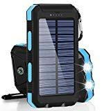 Offer for Solar Charger, BESWILL 10000MAH Solar Phone Charger Waterproof External Battery Pack Dual USB Solar Power Bank with 2 Flashlights Carabiner and Compass Compatible with iPhone and Other Smart Devices