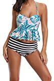 Offer for Outrip Women's Retro Floral Tankini Set Two Piece Ruffle Swimsuit Bathing Suit (Style 1,S)