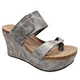 Offer for Bbalizko Womens Summer Sandal Wedges Boho Flip Flops Platform Shoes Slippers Silver