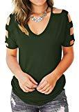 Offer for Eanklosco Womens Summer Short Sleeve Cold Shoulder Tops V Neck Basic T Shirts (Green, XL)