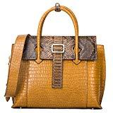 Offer for Women Genuine Leather Handbags Luxury Designer Handbags Top-handle Bags Embossed Crocodile Cowhide