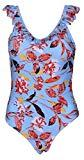 Offer for Outrip Womens Retro V Neck Halter One Piece Swimsuit Tummy Control Bathing Suits (Blue Flowers, S/US(4-6))