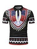 Offer for Dreamparis Men's African Print Tribal Dashiki Polo Shirt Short Sleeve Spread Collar T-Shirt Tops