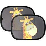 Offer for Baby Uma Car Sun Shades, Best Car Window Shade for Baby, Protect Your Infant & Child. 2X Giraffe Design Sunshade Car Blinds by EZ-Bugz