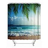 Offer for papasgjx Creative Shower Curtain -100% High-Grade Polyester Material,Waterproof & Heavy-Duty Design, 71�71 Inches with Hooks (Coconut Tree)