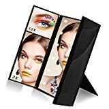 Offer for Makeup Mirror, Sanvaree Portable Vanity Mirror with Lights, Led Lighted Travel Mirror, Cosmetic Mirror with 12 Led Lights and 1X/2X/3X/10X Magnifying (Black)
