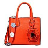 Offer for Top Handle Handbags for Women Flower Series PU Leather Tote Purses Medium Satchel Bags Orange by Ruiatoo