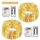 Offer for ALOVECO 2 Pack 66 Feet 200 Led Fairy Lights Battery Operated with Remote Control Timer Waterproof Copper Wire Twinkle String Lights for Bedroom Indoor Outdoor Wedding Dorm Decor Warm White