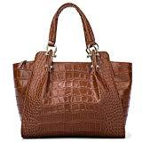 Offer for Women Genuine Leather Handbags Luxury Designer Bags Top-Handle Bags Satchels Embossed Crocodile Cowhide