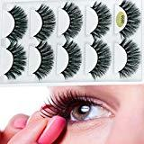 Offer for 3D False Eyelashes Extension 5 Pairs Long Lashes With Volume for Women's Make Up Handmade Soft Fake Eyelash (5 pair)