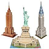 Offer for CubicFun 3D New York Puzzles Small Cityline Building Paper Craft Model Kits Collection Toys for Adults and Teens, Statue of Liberty, Empire State Building, and Chrysler Building