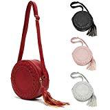 Offer for Women Crossbody Bags, JOSEKO PU Leather Zipper Shoulder Bag Round Cell Phone Purse with Tassel