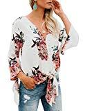 Offer for Bbalizko Womens 3/4 Sleeve Chiffon Blouses Floral Printed Deep V Neck Tie Front Tops (Medium, X-White)