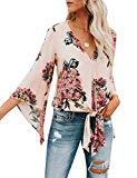 Offer for Bbalizko Womens 3/4 Sleeve Chiffon Blouses Floral Printed Deep V Neck Tie Front Tops (Medium, X-Pink)