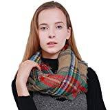 Offer for MissShorthair Women's Light Weight Colorful Painting Plaid Tartan Infinity Scarf (Light Brown Tartan)
