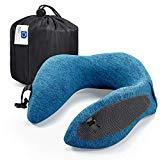 Offer for Docamor Memory Foam Travel Neck Pillow, Compact U-Shaped Neck Support Pillow with Easy-to-Carry Bag, Washable Cover and Adjustable Neck Size for Plane Train Car Bus Office Napping, Macaw Blue Green