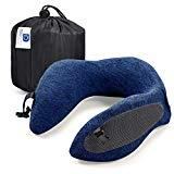 Offer for Docamor Memory Foam Travel Neck Pillow, Compact U-Shaped Neck Support Pillow with Easy-to-Carry Bag, Washable Cover and Adjustable Neck Size for Plane Train Car Bus Office Napping, Deep Navy Blue