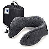 Offer for Docamor Memory Foam Travel Neck Pillow, Compact U-Shaped Neck Support Pillow with Easy-to-Carry Bag, Washable Cover and Adjustable Neck Size for Plane Train Car Bus Office Napping