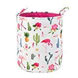 Offer for Toy Storage Organizer Bins,LIVEBOX Baby Laundry Basket Cotton Canvas with Handle for Kid's Room Baby Nursery Hamper Bins Boxes Dog (FlamingoCactus)