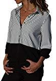 Offer for Shawhuwa Womens Color Block Stripes V Neck Button Down Blouses Casual Tops Work Shirts