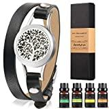 Offer for Aromatherapy Essential Oil Leather Diffuser Bracelet w/Tea Tree, Lemongrass, Orange and Peppermint -10ML/pcs, Unique Gift Ideas for Women, Girls, Friend, Mom at Anniversaries, Birthday and Christmas