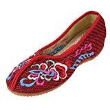 Offer for CINAK Embroidery Shoes for Women Comfort Slip-on Flats Casual Loafers Round Toe Slipper Red Ballet Flats Shoes(6.5-7 B(M) US/UK4.5-5/EU37/CN38/24CM,Red)