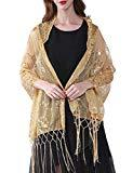 Offer for MissShorthair Women's 1920s Scarf Mesh Sequin Wedding Cape Evening Shawl Wrap (Gold)