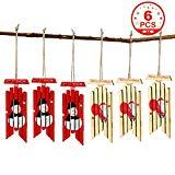 Offer for OurWarm 6pcs Hanging Wooden Sled Christmas Ornaments + 6pcs Gift Bag with Twines, Christmas Red Snowman Sled Ornament Christmas Tree Ornaments (Snowman & Santa)