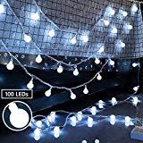 Offer for Ollny Globe String Lights 100 LEDs 33ft for Bedroom Indoor Outdoor Fairy String Lights Cool White for Christmas Tree Wedding Party Garden Decoration with Remote Timer Plug in Waterproof NOT CONNECTABL