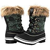 Offer for GLOBALWIN Women's 1838 Black/Green Camouflage Winter Snow Boots 6M