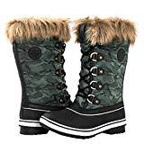 Offer for GLOBALWIN Women's 1837 Black/Green Camouflage Winter Snow Boots 6.5M