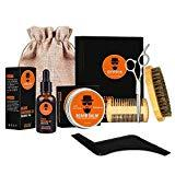 Offer for Wumal Beard Kit for Men 10 in 1 - Ultimate Beard Grooming Kit for Grow Beard Includes 100% Natural Comb, Oil, Balm, Wash, Shampoo, Brush, Scissors, Shaper, Apron Bib and Burlap Bag