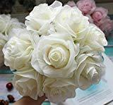 Offer for Kislohum Artificial Flowers White Roses 10pcs Real Looking Fake Silk Roses for Wedding Bouquets Floral Leaf Centerpieces Party Home Decor Baby Shower,Pink in Center (White with Pink)
