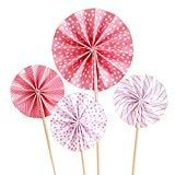 Offer for 12Pcs Cupcake Toppers Pink Circle Fan Flowers Muffin Decoration Fun Cake Topper Picks Mini Birthday Cake Decor for Baby Boys Girls Kids Birthday Party and Wedding Supplies
