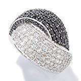 Offer for Pinctore Platinum o/Silver 4.46ctw Black Spinel & White Zircon Ring, Size 7