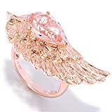 Offer for Pinctore 18K Gold Vermeil 2.50ctw Morganite & White Zircon Angel Wing Ring, Size 7