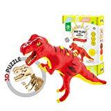 Offer for ROBUD Build Dinosaur Figure with Modeling Clay-Dinosaur Toy Playset for Educational Learning-Creative DIY 3D Wooden Skeleton Puzzle-Ideal Christmas Birthday Gifts for Kids(T-Rex)