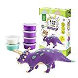 Offer for ROBUD Build Dinosaur Figure with Clay-DIY Air Dry Ultra Light Modeling Magic Clay-Creative Dino Toy Art DIY Craft Kits for Educational Learning,Best Kids Gifts Ever(Triceratops)