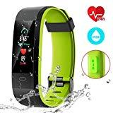 Offer for CHEREEKI Fitness Tracker, Smart Band IP68 Waterproof Heart Rate Monitor Smart Watch Activity Tracker with 14 Sport Modes, Sleep Monitor, Calorie Counter for Android & iOS (Black and Green)