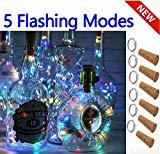 Offer for SFUN Wine Bottle Lights with Cork- 5 Dimmable Modes with Timer 10 Pack+12 Replacement Battery Operated LED Silver Copper Wire Fairy String Lights for DIY, Party, Decor,Wedding