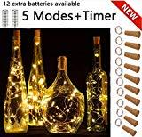 Offer for SFUN Wine Bottle Lights with Cork, 5 Dimmable Modes with Timer 10 Pack +12 Replacement Battery Operated LED Silver Copper Wire Fairy String Lights for DIY, Party, Decor,Wedding