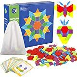 Offer for Joqutoys 130 Pieces Wooden Pattern Blocks with 24 Design Cards Counting Educational Toy for Kids (130 Pcs)