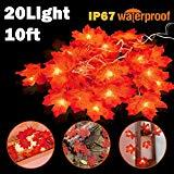 Offer for Thanksgiving Decorations Fall Lighted Garland Maple Leaf String Lights Waterproof Seasonal Lighted for Harvest Festival Thanksgiving Christmas Indoor Outdoor Wedding Garden 20 LED 10 ft