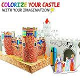 UC Global Trade Inc 3D Puzzle Coloring Castle for Kids and Adults -  Educational DIY Build and Color Cardboard Kit