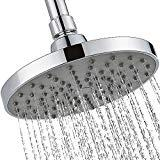 Offer for 6 Inch Rain Shower Head-High Flow Waterfall Raincan Replacement for Bathroom Showerhead -Modern Polished Chrome Round Rainhead -Mount Fixed Rainfall Style - Universal Wall or Ceiling Mount-TECI T003