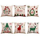 Offer for papasgix Set of 6 Christmas Theme Throw Pillow Covers Christmas Series Cotton Linen Cushion Santa Claus Square Decorative Pillow Cases for Home Sofa Couch Car Decor 18